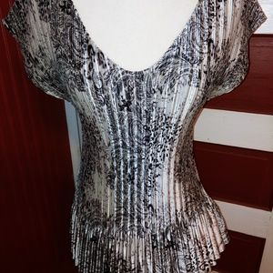 Milano Pleated Stretchy Dress Blouse XL